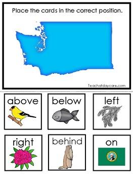Washington State Symbols themed Positional Word Preschool Literacy Game.