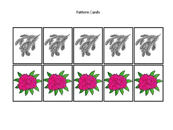 Washington State Symbols themed Preschool Pattern Cards and Game Board.