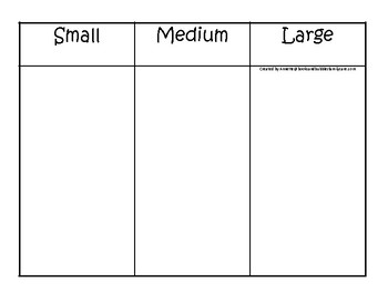 Washington State Symbols themed Size Sorting Printable Preschool Math Game.