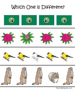 Washington State Symbols themed Which One is Different Preschool Math Game.