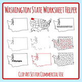 Washington State US State Worksheet Helpers Clip Art Set for Commercial Use