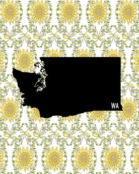 Washington Vintage State Map or Poster Class Decor