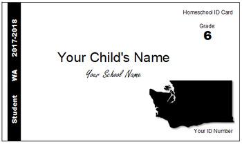 Washington (WA) Homeschool ID Cards for Teachers and Students
