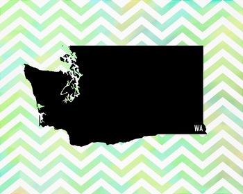 FREEBIE! Washington Chevron State Map Class Decor, Classroom Decoration