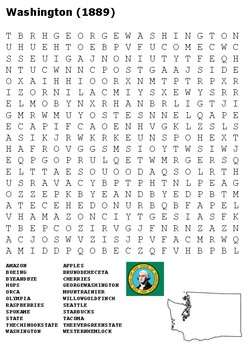 Washington State Word Search and Color