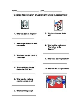 Washington and Lincoln Assessment