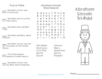 Washington and Lincoln Reading Comprehension Trifolds for Presidents' Day
