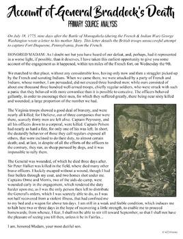 Washington's Account of General Braddock's Death Primary Source Analysis