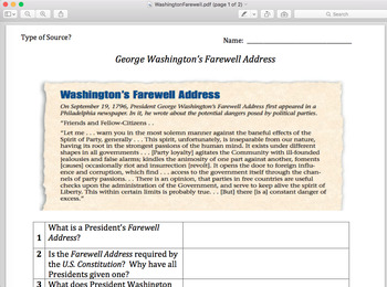Washington's Farewell Address: Primary Source
