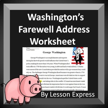 Washington's Farewell Address Quote Analysis and Reading Worksheet