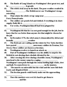 Washington's Weather Documentary Guided Notes American Revolutionary War