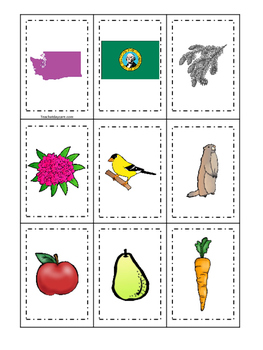 Washington themed Memory Matching and Word Matching preschool curriculum game