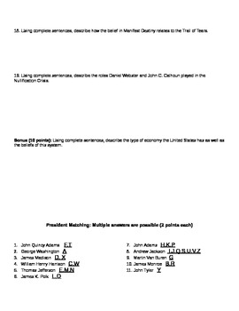 Washington thru Jackson Presidencies Matching Quiz