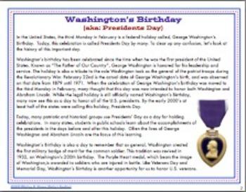 Presidents Day / Washington's Birthday Find Someone Who