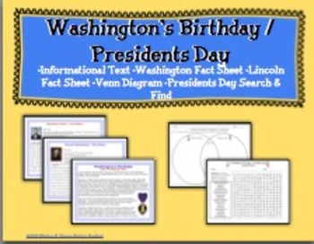 Presidents Day  Search and Find and Informational Text