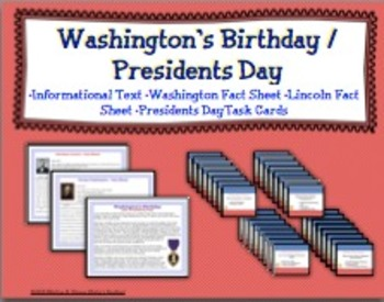 Presidents Day / Washingtons Birthday Task Cards