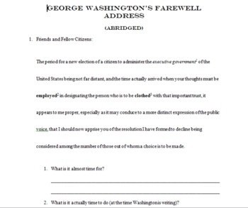 Washington's Farewell Address Activity