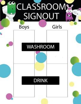 Washroom / Drink Signout - Little Monster Theme