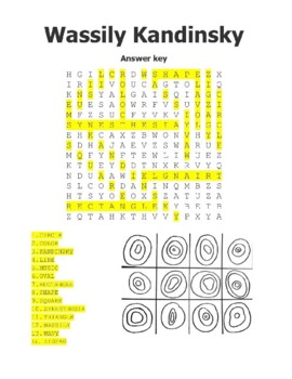 Wassily Kandinsky Coloring Sheet, Word Search, Worksheet