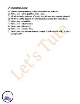 Waste Management | Assessment | Worksheets