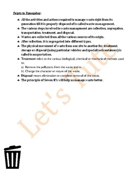 Environmental Science | Waste Management | Assessment | Worksheets