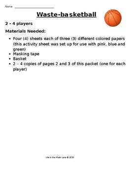 Waste-Basketball Fraction Review Game