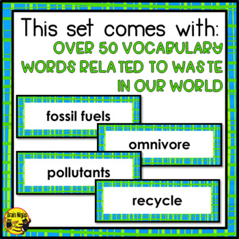 Waste in Our World Word Wall Words- Editable