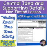Wasting Food? Determining Central Idea and Supporting Details Activity