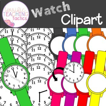 Watch Clip Art (Telling Time to the Hour/Half Hour: Clocks)
