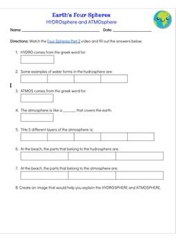 Watch & Learn: Atmosphere & Hydrosphere Worksheet
