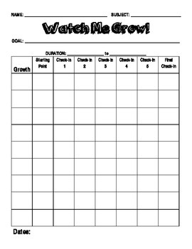 Watch Me Grow: Student Self-Assessment Chart
