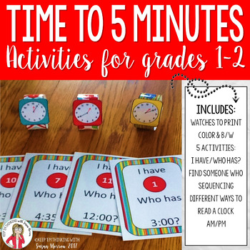 Telling Time to the Nearest 5 Minutes Games and Activities 2nd Grade