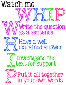 FREE PRINTABLE - Watch Me Whip Constructed Response Printable Poster