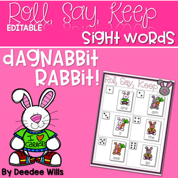 Dagnabbit Rabbit Sight Word Roll, Say, Keep-Editable