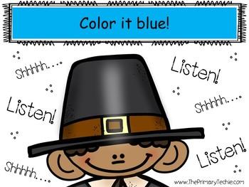 Watch, Think, Color LISTENING SKILLS - Turkey Freebie