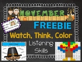 Watch, Think, Color LISTENING SKILLS - Turkey Freebie