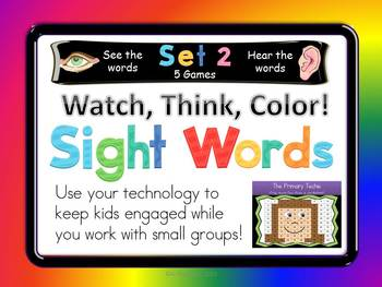 Watch, Think, Color SIGHT WORDS Set 2