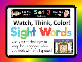 Watch, Think, Color SIGHT WORDS Set 3
