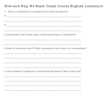 Watch and Learn Video-Based Crash Course ELA Activity #1 CCSS Aligned