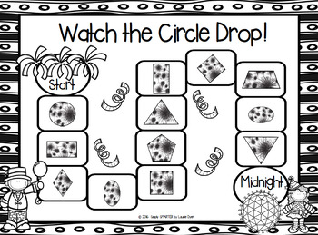Watch the Circle Drop!:  NO PREP New Year's Eve Shape Board Game