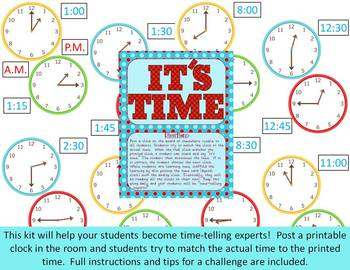 Watch the Clock ~ A fun ongoing game to practice time to 1/4 hour *Common Core*