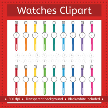 Watches clip art, telling time, clock