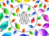 Watecolor Christmas Lights Clipart