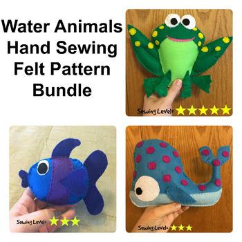 Water Animals Felt Hand Sewing Patterns Bundle