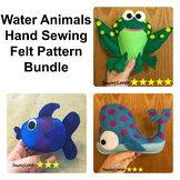 3 Water Animals Felt Hand Sewing Patterns Bundle