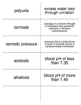Water Balance Flash Cards for Nutrition and Health Students