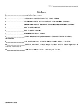 Water Balance Quiz or Worksheet for Nutrition and Health Students
