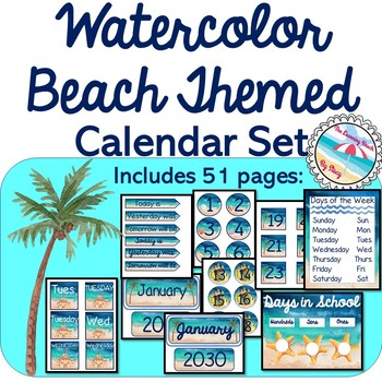 Water Beach Decor Coordinating CALENDAR {Beach Themed 51 Pages} Back to School