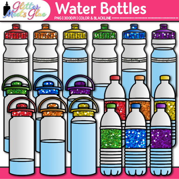 Water Bottle Clip Art {Drink Containers for Classroom Management & Sequencing}