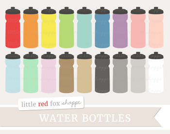 Water Bottle Clipart; Fitness, Sports, Drink